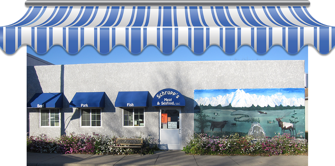 The store front of Schrupp's Meats & Seafood in Paynesville, Minnesota