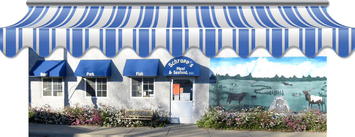 Exterior of Schrupp's Meat & Seafood featuring mulitple blue window awnings, planted flowers, and a painted wall mural