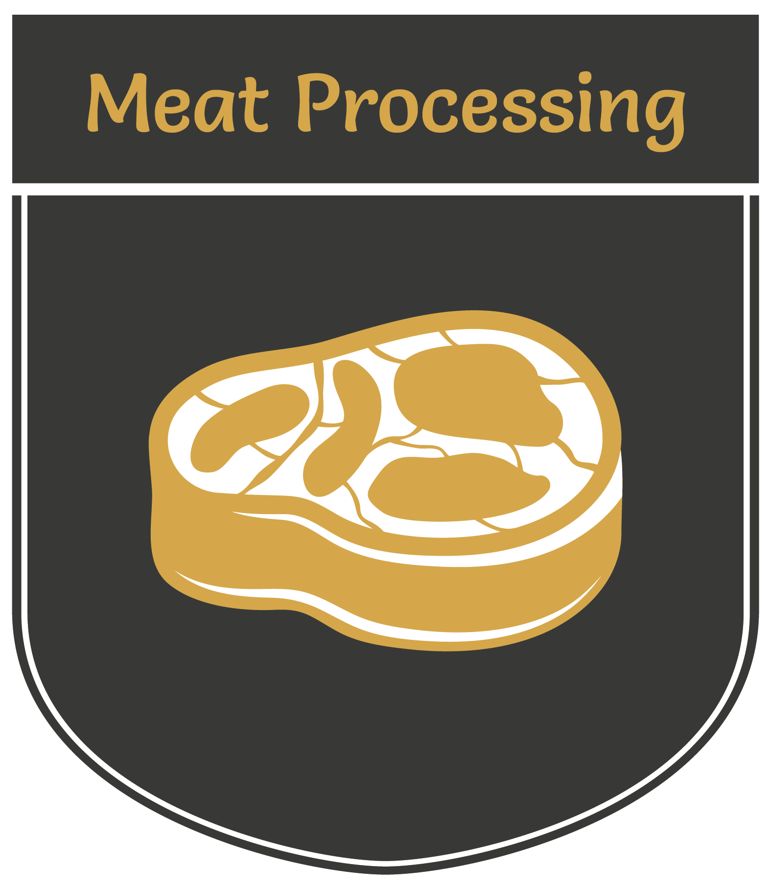 Vertical banner displaying an illustration of a steak | Meat Processing