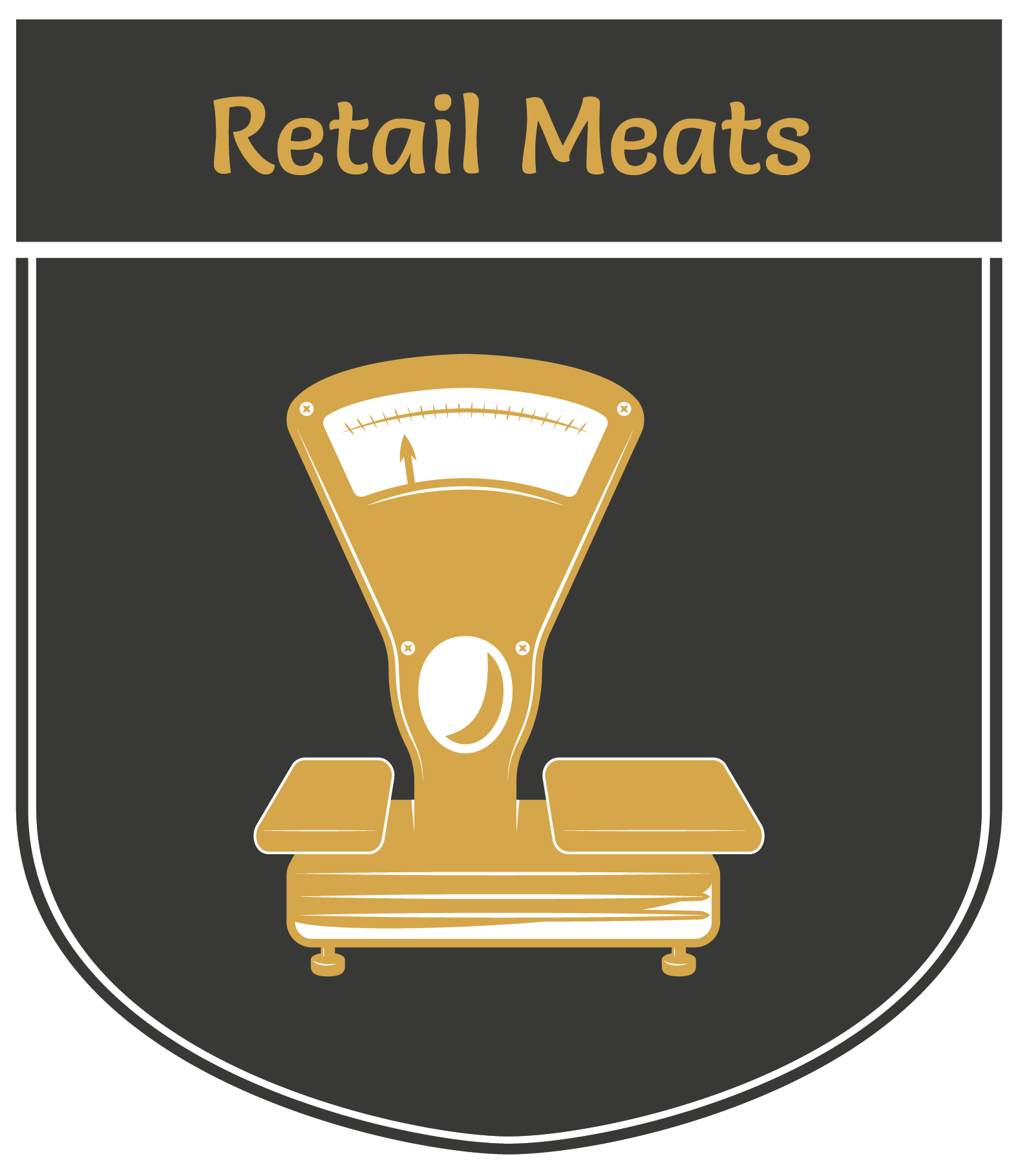 Vertical banner displaying an illustration of a meat scale | Retail Meats